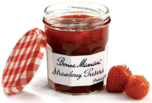 bonne maman  the best jams and jellies.  I save all the jars and reuse them for many different things.
