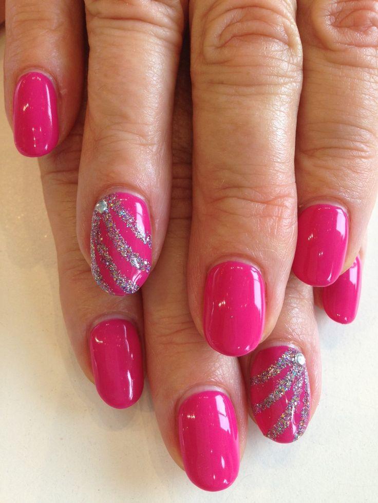 Bio Sculpture Gel: #89 - Bright Summer Pink. Accents in multi-coloured glitter