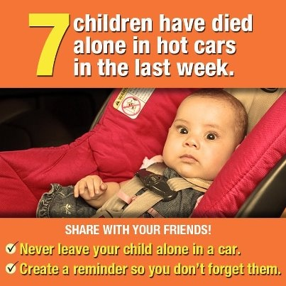 Sadly, in the past six days there have been a total of 7 deaths from children being unattended in hot cars. ACT: Avoid. Create Reminders. Take Action.