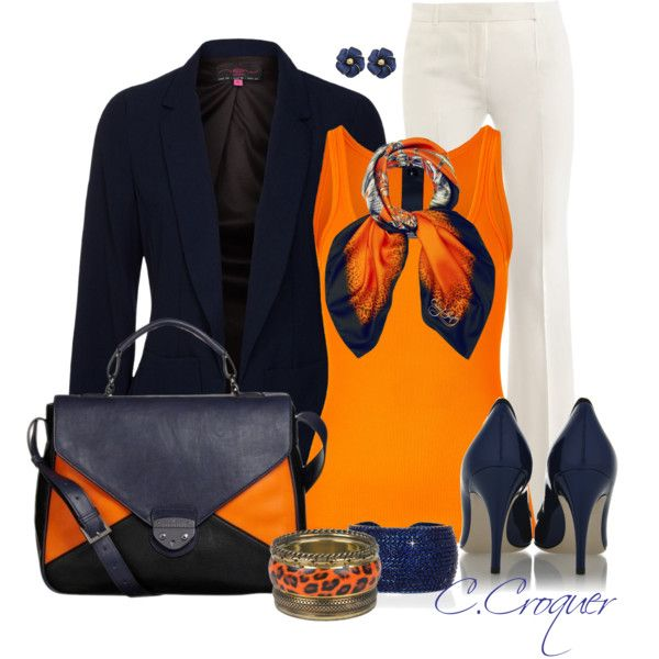 Scarves - Navy&Orange by ccroquer on Polyvore featuring Ralph Lauren Black Label, Alexander McQueen, Dolce&Gabbana, Fiorelli, Vanity Her and EMMA J SHIPLEY
