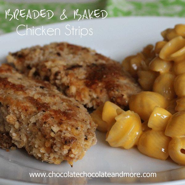 Breaded & Baked Chicken Strips with Velveeta #CheesyShells