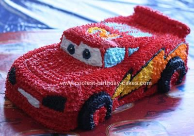 Homemade Lightening McQueen Birthday Cake: My son loves the movie Cars. My husband wanted to make him a Lightening McQueen cake, but wanted to something more then the normal cake pan.     He baked