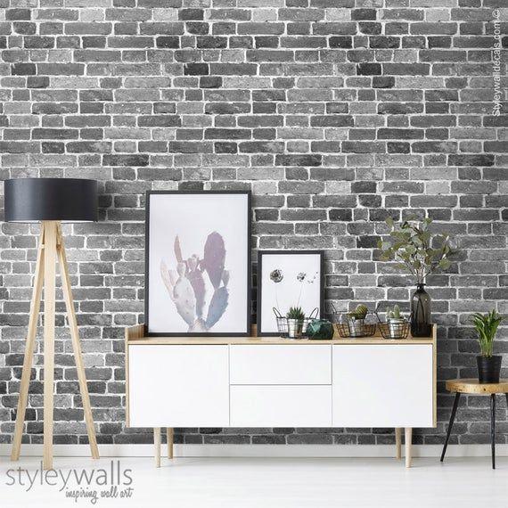 Bricks Wallpaper Black White Gray Brick Pattern Wallpaper Etsy Brick Pattern Wallpaper Black Brick Wallpaper Brick Wallpaper Grey
