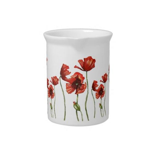 Red Poppy Floral Design Pitcher