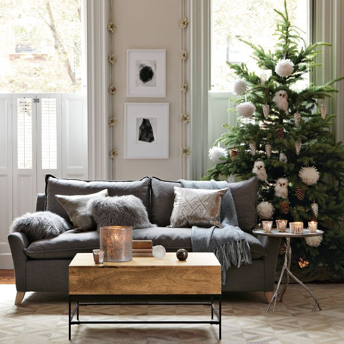 Adorable Vintage Christmas Accessories in Soft Tones : Grey Sofa Wooden Coffee Table Cool Christmas Decorating Ideas