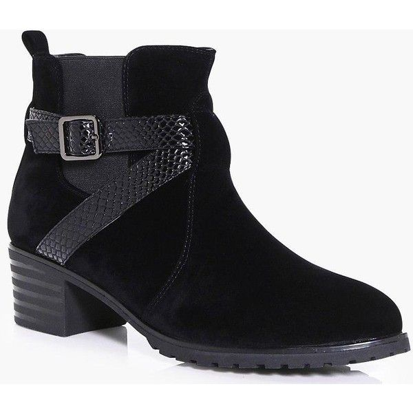 Boohoo Ruby Wrap Strap Cleated Chelsea Boot ($18) ❤ liked on Polyvore featuring shoes, boots, ankle booties, block heel boots, chelsea boots, beatle boots, boohoo boots and summer boots