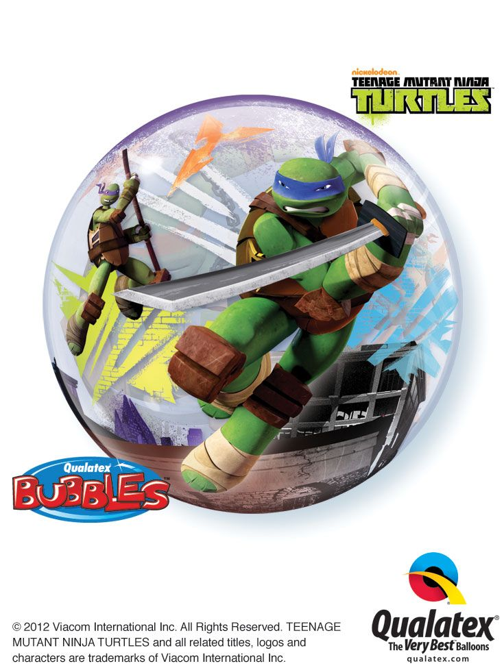 Qualatex created this Teenage Mutant Ninja Turtles Bubble Balloon® with Donatello and Leonardo on one side #tmnt #balloon #qualatex #nickelodeon