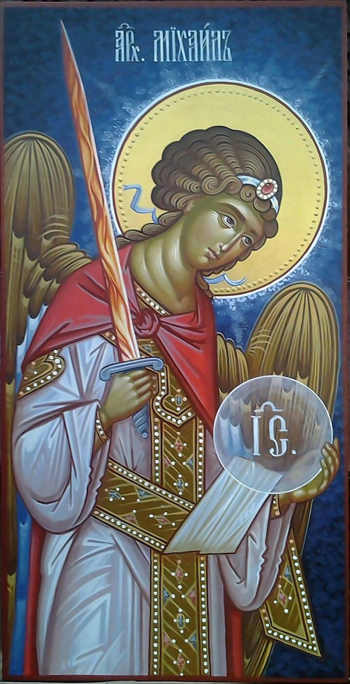архангел МИХАИЛ доска 30х60, акрил