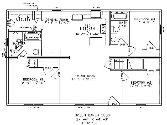One Story Ranch Style House Plan Needs About 500 Sq Ft