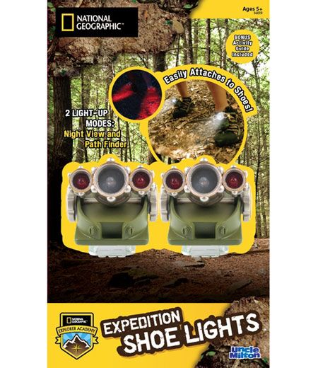 National Geographic Expedition Shoe Lights and thousands more of the very best toys at Fat Brain Toys. With a flashlight, your hands always have to be holding something. With a headlamp, you always end up blinding everyone you look at. But with the Shoe Lights... Now you're all set to hike through the night without any frustration. Let your feet lead the way!