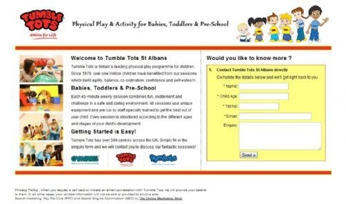 The Online Marketing Shop - PPC - Tumble Tots Landing Page - on FreeIndex