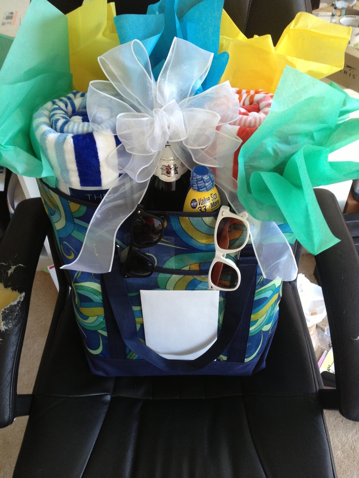 gifts to give for bridal shower games%0A Wedding shower gift  A little honeymoon bag complete with beach towels   flip flops