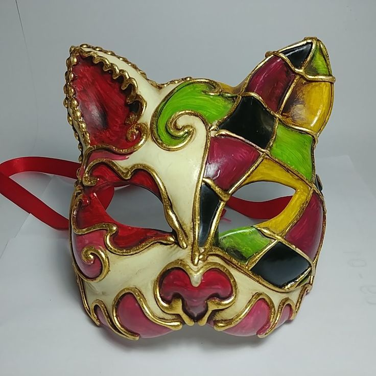 Rare Italian Handmade & Hand-Painted Venezia Cat Mask For Ball Party and Theater #Venezia #Mask