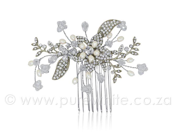 PURE WHITE - Rhinestone, Crystal  http://www.purewhite.co.za/rhinestone-crystal-freshwater-pearl-comb-5-033/