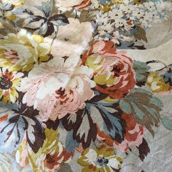 "Linen Fabric Rose Flower by the yards 55/"" cozy Rose Flower"