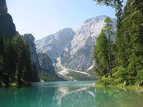 Another of many lovely Italian lakes - Braies Lake in the Alto Adige area of Italy. Big hotel there.
