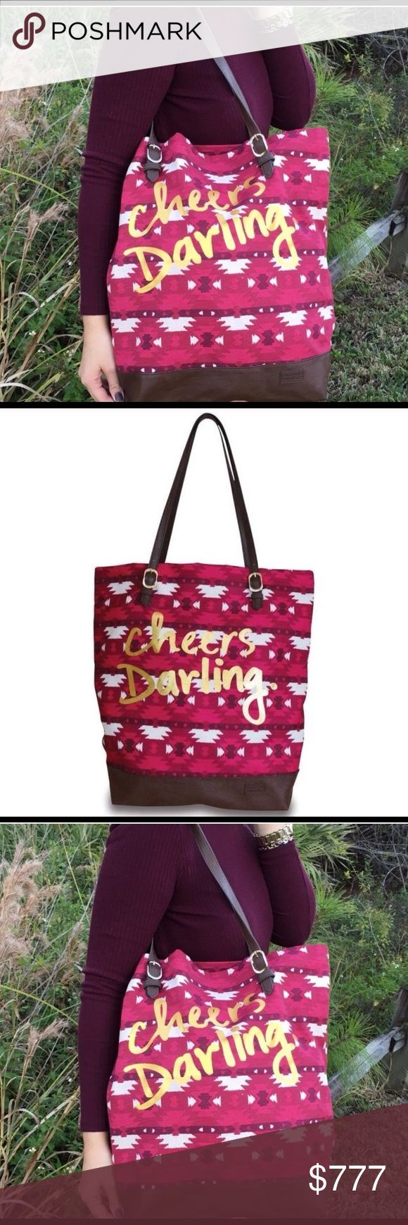 "JUST IN🌲🌲🌲 Canvas Cheer So Darling for Christmas, an absolute favorite in canvas! 💯 Cotton exterior with plenty of room for shopping, work, or any occasion! Feature embossed metal hardware and on trend Aztec Print. Vegan leather trim! Cheers to that!!! 17""x 4.75 x 16"" Adjustable Shoulder strap Vegan leather Aztec on-trend Print  LIMITED INTRO PRICING!! ! Order now for Christmas 🎄 Boutique Bags Shoulder Bags"