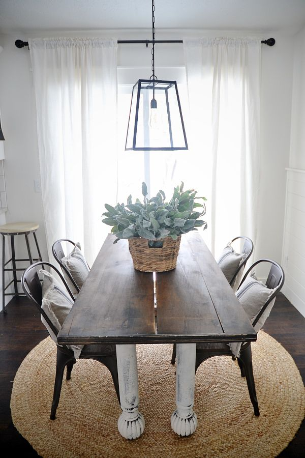 Rustic metal wood dining chairs with a farmhouse table for Wood and metal kitchen table