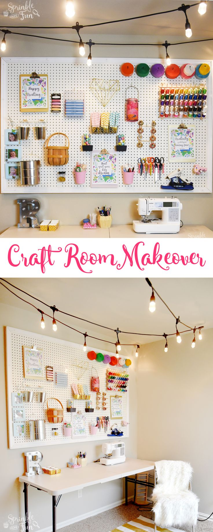 Craft Room Makeover with Café Lights! #ad #EnbrightenLife @JascoProducts