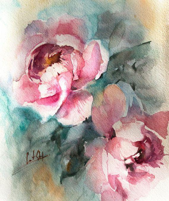 Peonies Original Watercolor Painting Pink Peonies by CanotStop
