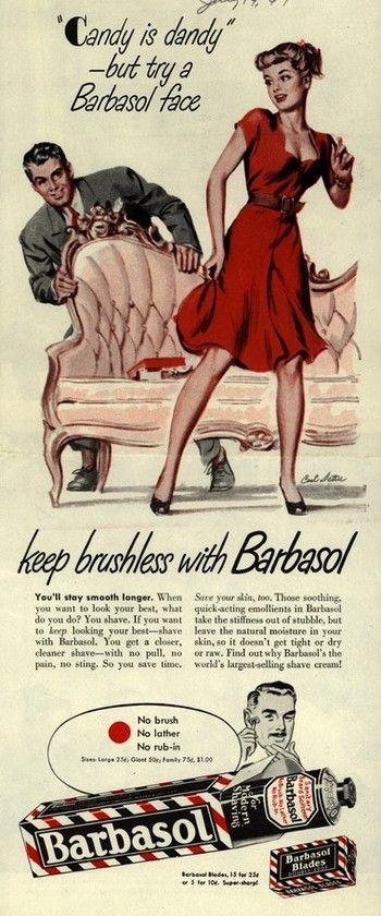 Vintage ads for Barbasol shaving foam for men, 1940s - Found in Mom's Basement