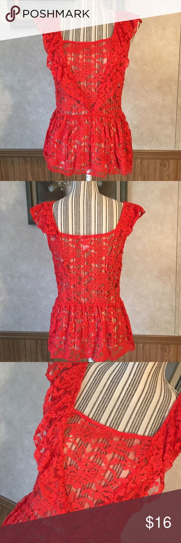 Candies red lace peplum top. Sleeveless red lace peplum top. Candie's Tops Blouses