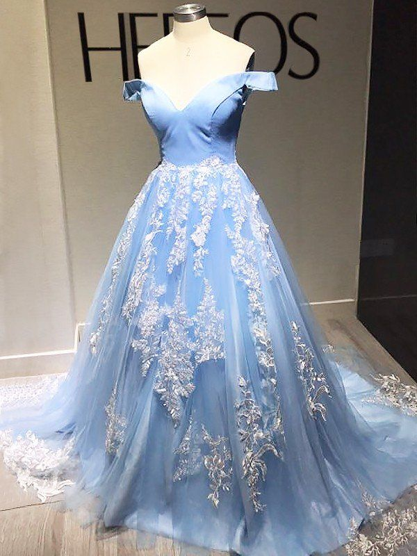 29c426c052c4 Ball Gown Sleeveless Off-the-Shoulder Applique Tulle Sweep/Brush Train  Dresses - Prom Dresses - Hebeos Online