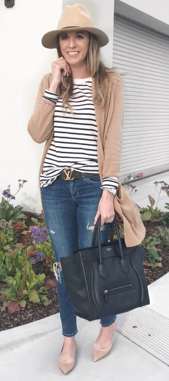 #spring #fashion Brown Cardigan & White Striped Top & Ripped Skinny Jeans & Black Leather Tote Bag