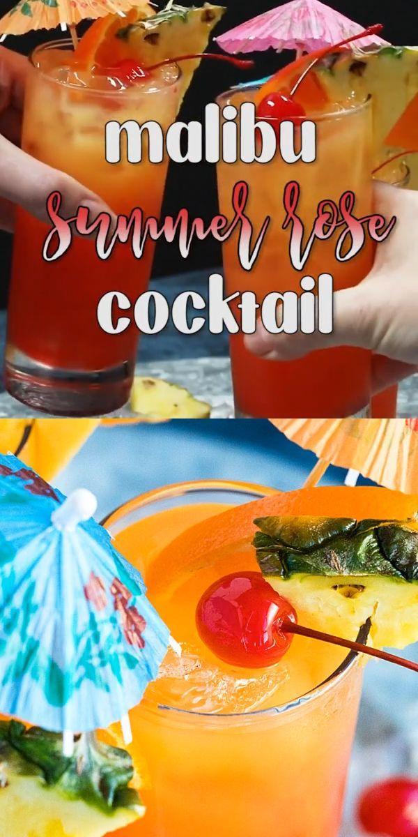 Malibu Summer Rose Cocktail Video Recipe Peach