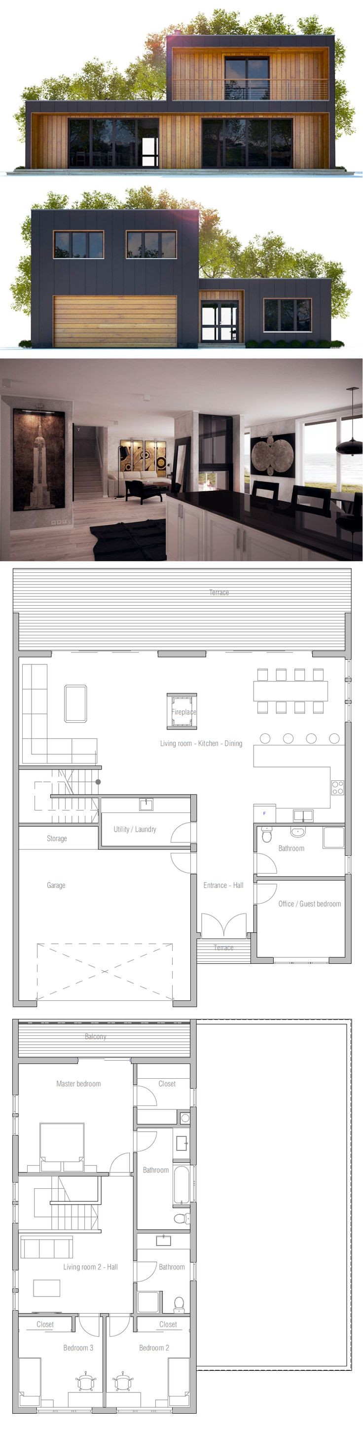 best 25 modern house plans ideas on pinterest modern house house plan could replace the garage with the spare bedrooms and guest bath then switch the upstairs around to add a larger balcony instead of the extra