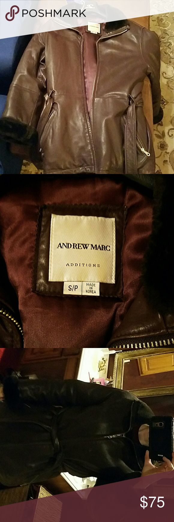 Andrew Marc brown leather jacket Excellent Andrew Marc brown leather jacket I see no flaws I have included a picture of the only real flaw I see on the bottom of the jacket there appears to be a slight snag on the interior of the sudden but I never noticed it until inspecting the jacket. Make an offer Andrew Marc Jackets & Coats Puffers
