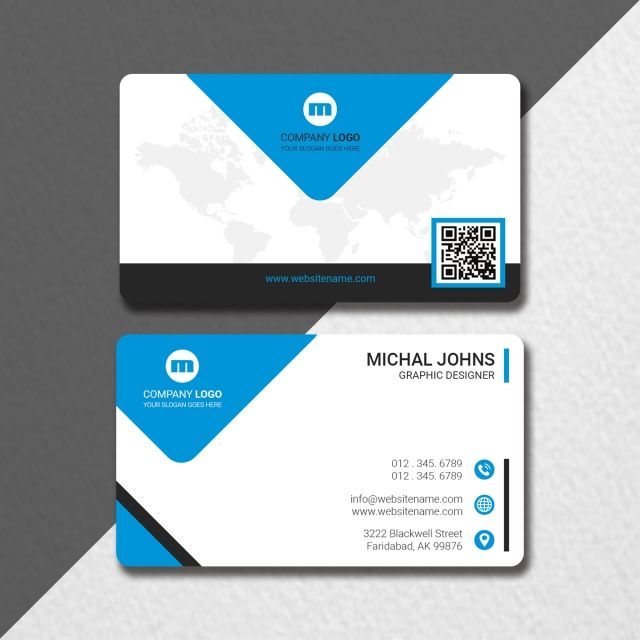 Modern Business Card With Map Qr Code Business Card Mock Up Qr Code Business Card Printing Business Cards