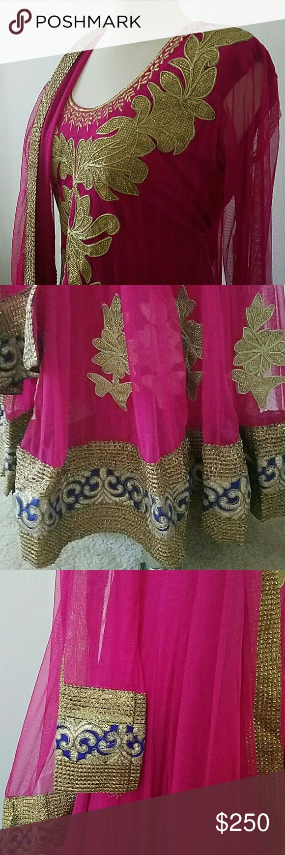 Indian Bollywood Anarkali evening gown Pink anarkali desi outfit with gold and blue lace. Perfect for weddings. Only wore once. Comes with dupatta and leggings :: indian, Pakistani, desi, wedding, bollywood, anarkali, shalwar, Kameez :: Dresses
