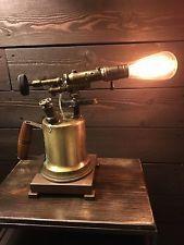Industrial antique vintage welding blow torch steampunk light lamp