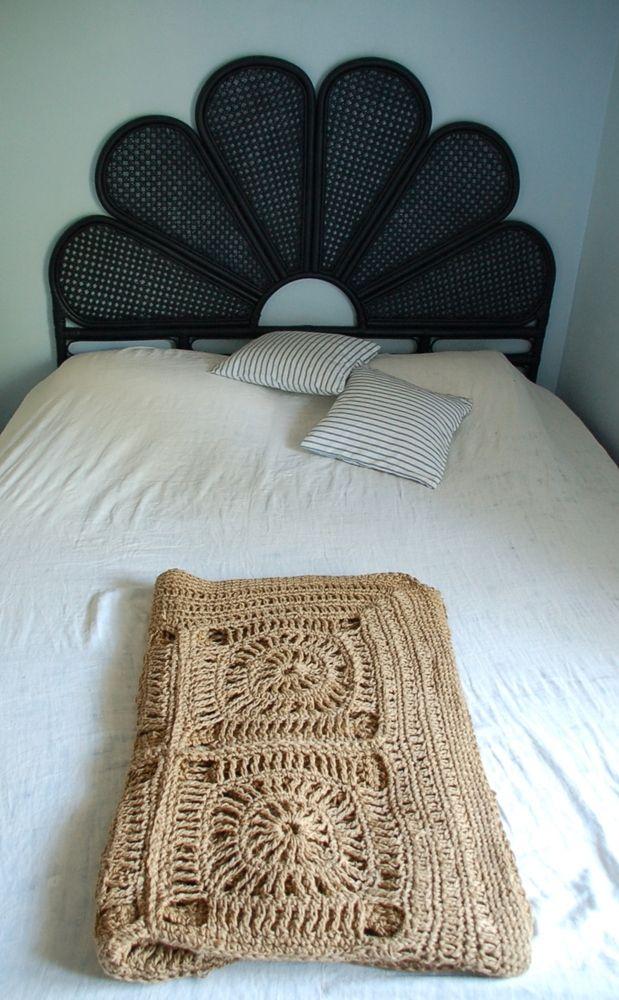 tapis crocheté vintage en corde  | boutique déco vintage EKLEKTIC collection