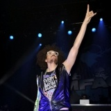 LMFAO Live in London     DJ Redfoo (aka, Stefan Gordy) performs with his group LMFAO at the O2 Shepherds Bush Empire