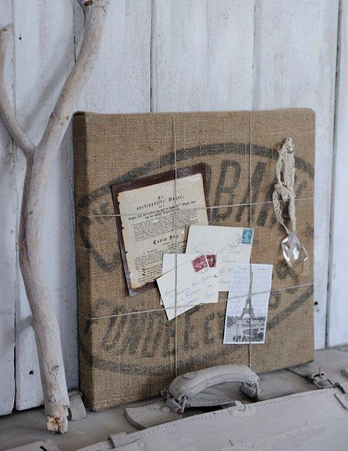 *burlap bag bulletin board - I think I just decided what I'm doing with my three coffee sacks!
