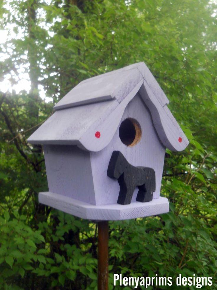 Birdhouse. Folk art fantasy functional tiny bird house with horse.