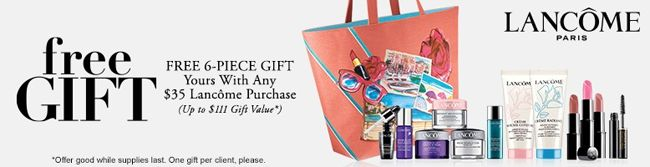 Do you need Lancome products? Now it is time to stock up - at Belk. Free 6-piece gift with 35 USD purchase. http://cliniquebonus.org/lancome-gift-with-purchase/