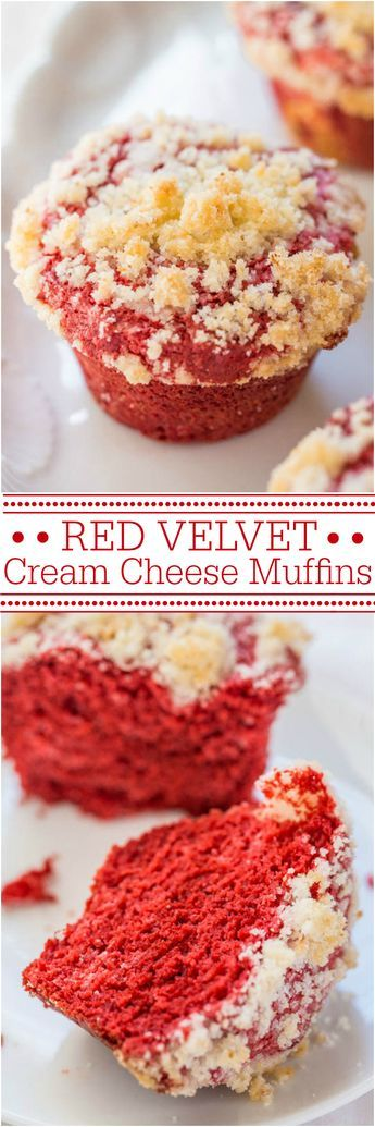 Red Velvet Cream Cheese Muffins - Cream cheese in the batter keeps the muffins so soft! The buttery crumb topping is just irresistible!!