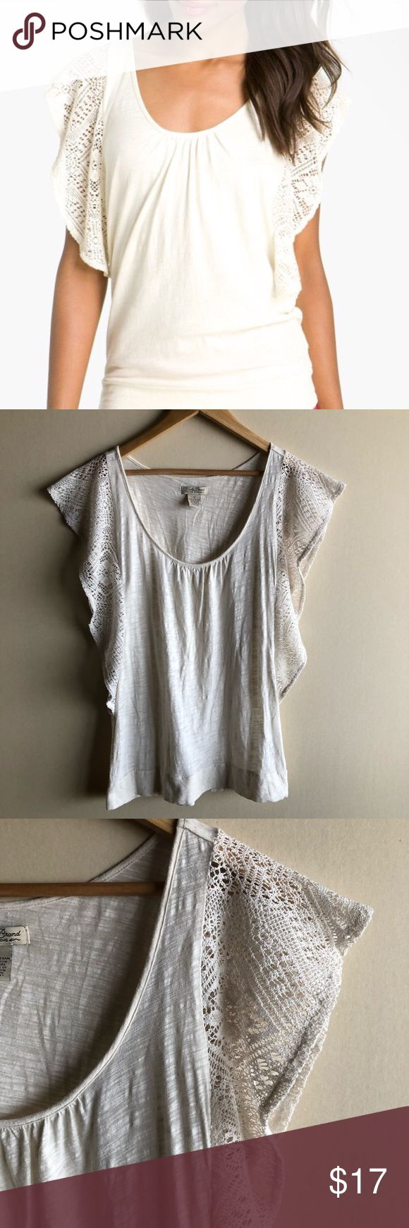 """Lucky Brand cream Sarafina flutter sleeve top Cream colored slub cotton top with crochet flutter sleeves. Gently worn in great condition! Measures 18"""" from underarm to underarm and 27.5"""" long. Lucky Brand Tops"""
