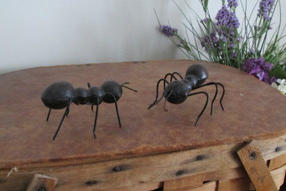 Two Cast Metal Black Ants Picnic Home & Wedding by VintageABCs, $14.00