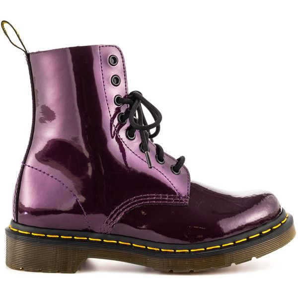 Dr Martens Women's Pascal - Purple Spectra Pat (89.915 CLP) ❤ liked on Polyvore featuring shoes, boots, ankle booties, doc martens, purple, ankle boots, shiny boots, purple booties, block heel boots and low heel bootie
