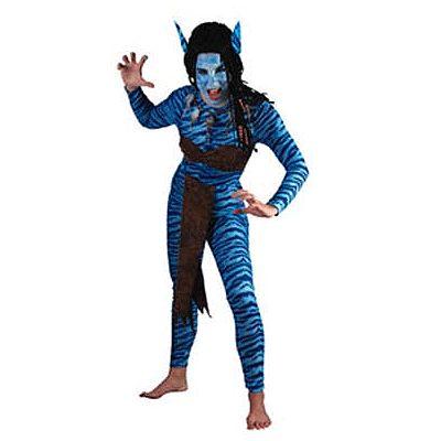 Avatar kostuum voor dames. Dit blauwe avatar kostuum met bruine accenten bestaat uit een jumpsuit, riem, schort en oren. Carnavalskleding 2015 #carnaval
