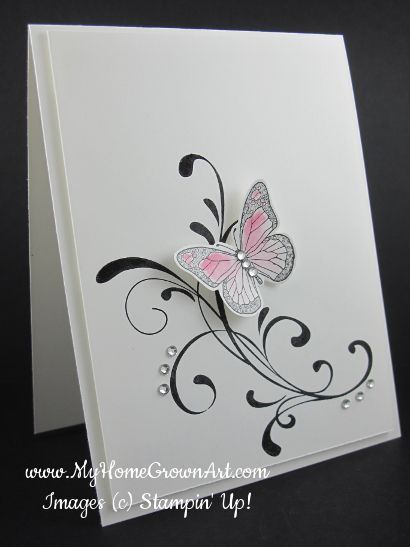 handmade card ... Easy, elegant, and quick! Everything Eleanor with Backyard Basics butterfly .. clean and simply delightful ... Stampin' Up!