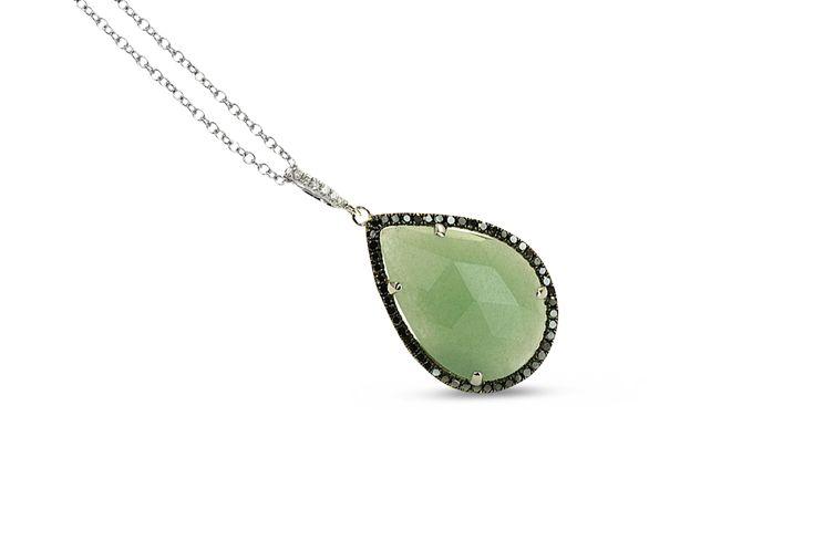 Green pear shaped aventurine pendant pavé set with black & white diamonds