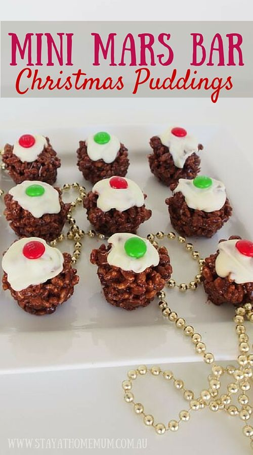 Mini Mars Bar Christmas Puddings contain everything kids love. Chocolate (Mars Bars), Rice Bubbles and oh more chocolate. It's a novel idea for Christmas dessert!
