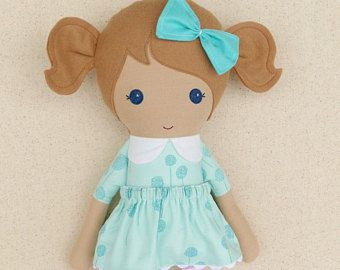 Reserved for Dyanna  Fabric Doll Rag Doll Brown Haired Girl