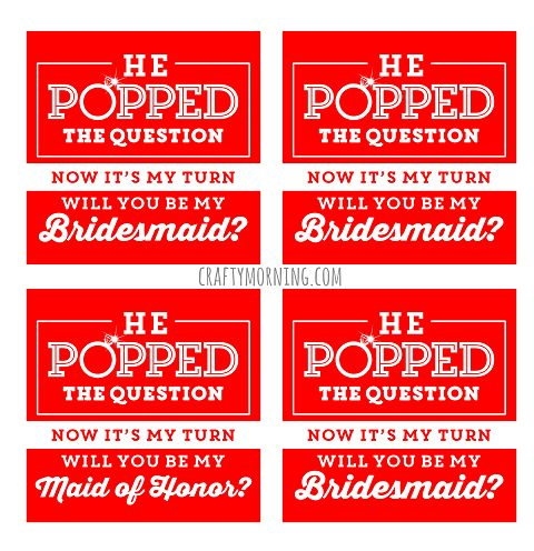 """""""He Popped The Question..."""" Bridesmaid Ring Pop Idea + Free Printable - Crafty Morning"""