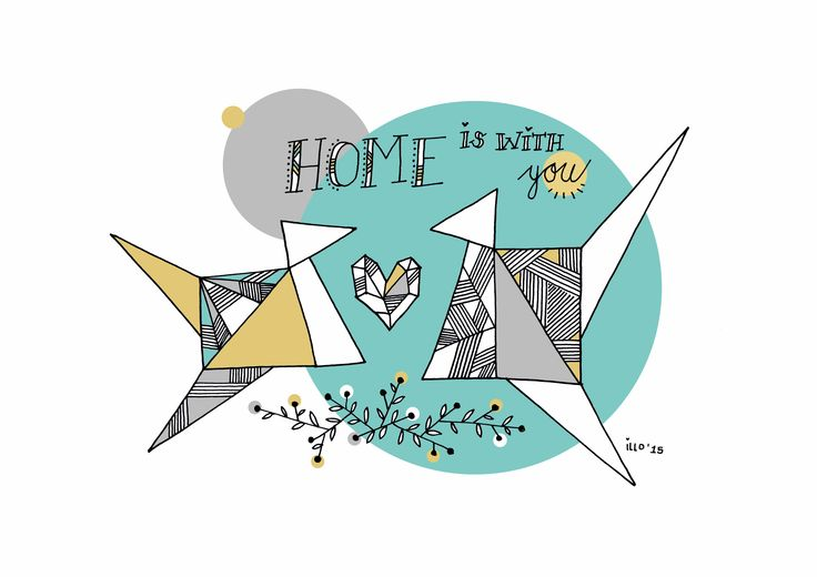 Copyright illo 2015 | All artwork belongs to Vivienne van Deventer | Origami | Birds | Home|  Art-print | Illustration